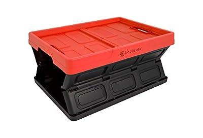 LotusUSA Foldable Stackable Hardside Storage Crate, 64 Quart, Red and Black