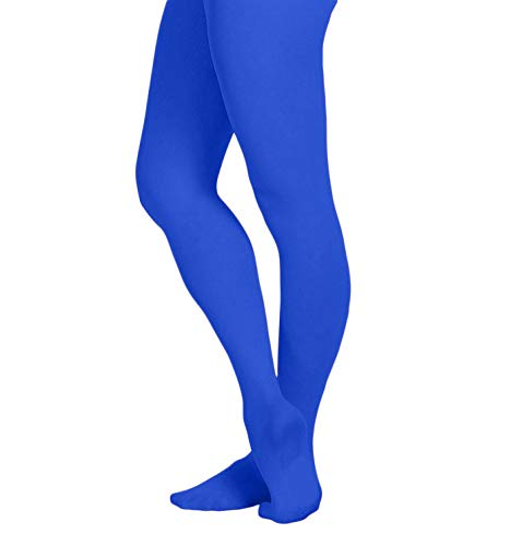 EMEM Apparel Women's Ladies Solid Colored Opaque Dance Ballet Costume Microfiber Footed Tights Stockings Fashion Royal Blue C