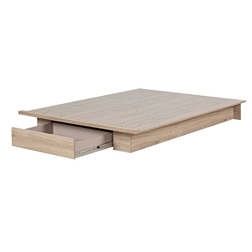 (South Shore Primo Full/Queen Platform Bed (54/60'') with drawer, Rustic Oak)