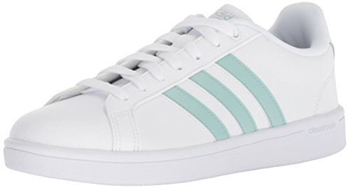 adidas Women's Cloudfoam Advantage Shoe Sneaker, White/ash Green/Light Granite, 8 M US
