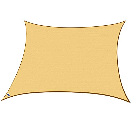 Cool Area Square Oversized 16 5 x 16 5 Sun Shade Sail, UV Block Patio Sail Perfect for Outdoor Patio Garden Swimming Pools in Color Sand