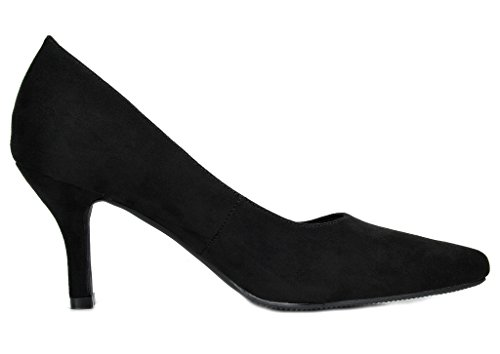 DREAM PAIRS Womens Comodo Low Heel Stiletto Pump Shoes Black RLivx