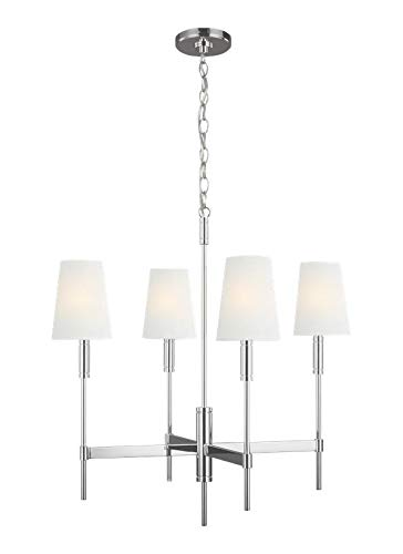 Feiss TC1034PN Transitional Four Light Chandelier from Beckham Classic Collection in Polished Nickel Finish