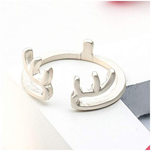 Giwotu Womens Mens Ring Antler in Gold Silver Black Animal Open Ring Cute Deer Ring for Women Simple Lovely Party Ring 275653 Silver Resizable
