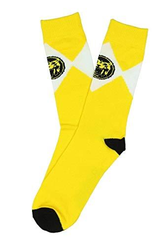 Mighty Morphin Power Rangers Mens Crew Socks (Yellow) size 10-13 ()