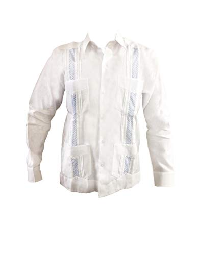 Guayabera Classic - Guayabera Men's Long Sleeve 100% Linen Classic Style,White Guayabera 4 Bags and Tucks with Sky Blue fine Details. (Large)