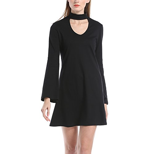 black dress with cutout sleeves - 9