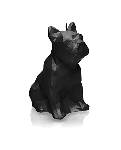 Candellana Candles Candellana- Bulldog Poly Candle-Black Glossy, Large, High (Dog Skeleton Candle)