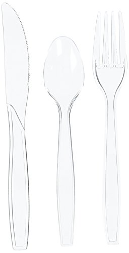 Fineline Settings 96-Piece Extra Heavy Cutlery Combo, Clear