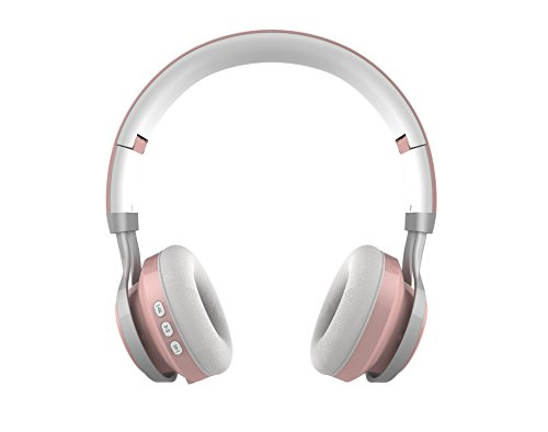 GabbaGoods Over Ear Wireless Foldable DJ Headphones for all Bluetooth Enabled Devices, iPhones, Smartphones, Tablets, MP3 Players. Noise Canceling Headset with optional Aux Cable- Rose (Optional Metallic Finishes)