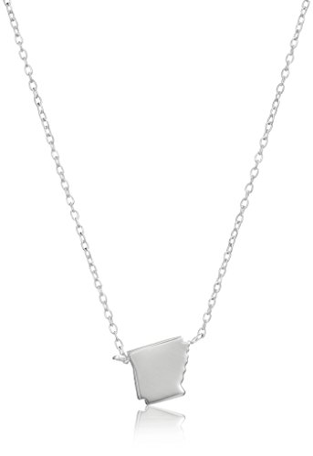 Sterling Silver Stationed Mini State Arkansas Pendant Necklace, 16