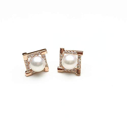 Akoya Rose Earrings - PearlsStudio Women's 925 Sterling Silver Earring 6mm Natural Freshwater Cultured Pearl Earrings Stud Zirconia Cubic Stud Earrings with 18k Rose Gold Plated
