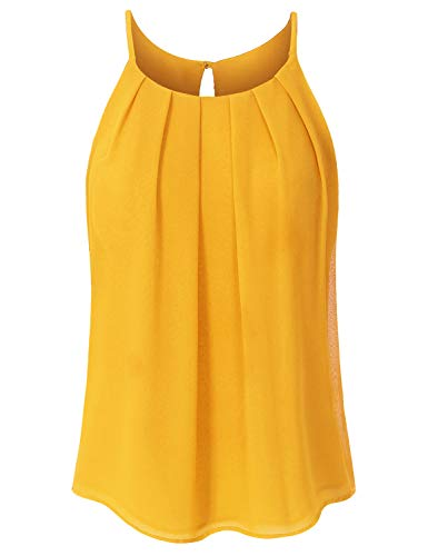 (JSCEND Women's Round Neck Pleated Double Layered Chiffon Cami Tank Top A-Mustard 1XL)