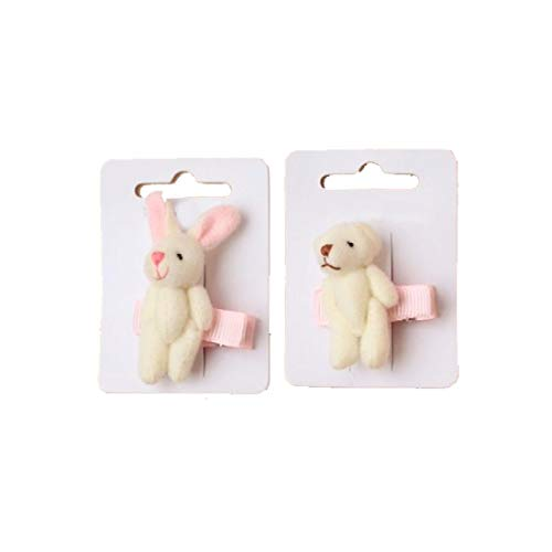Rimi Hanger Assorted Cream Bear and Rabbit Shape On Pink Ribbon Covered Beak Clip Pack of 4