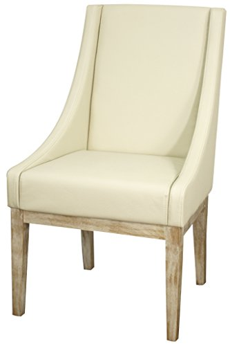 Cheap New Pacific Direct Houston Bonded Leather Chair,Natural Wood Legs,Cream,Fully Assembled