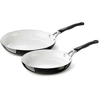 "Calphalon Ceramic Nonstick Cookware Fry Pan, 10 and 12"", Black"