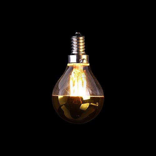 Century Light - 4W Vintage LED Filament Light Bulb G45 , Half Gold Mirror Top Light Bulb , Energy Saving Warm White 2700K, E12 Candelabra Base Lamp , 40 Watt Equivalen ,Dimmable,10Pack