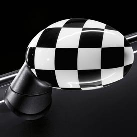 Genuine Oem Mini Cooper Checkered Flag Mirror Covers  Standard Without Powerfold Option Sa313  Set Of 2  Includes 1 Right   1 Left Cover