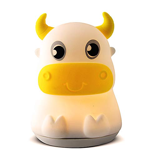 (LED Nursery Night Lights for Kids, Cute Cow Silicone Baby Child Beside Lamp Portable and Rechargeable Infant or Toddler Brightness Changing Bright)