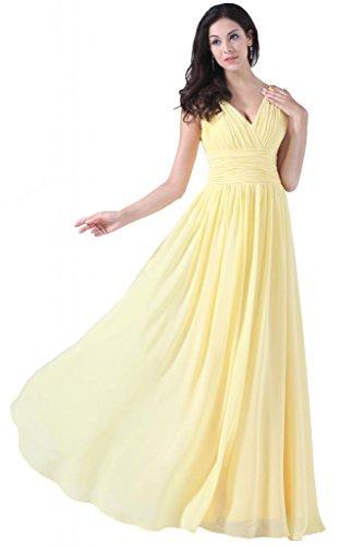 ASBridal V-neck Bridesmaid Long Chiffon Evening Formal Dresses Yellow US 24W
