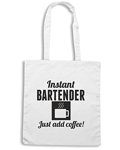 Speed Shirt Borsa Shopper Bianca BEER0246 INSTANT BARTENDER JUST ADD COFFEE