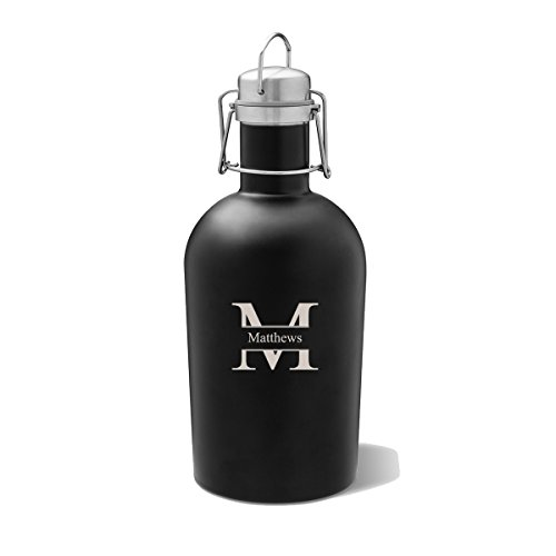 Personalized Black Matte Beer Growler Stamped Monogram - Monogrammed Beer Growler - Stainless Steel Growler - 64 oz - Growlers Beer