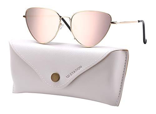 Mirrored Sunglasses for Women, Cat Eye Sunglasses, Small Sunglasses for Women with Sunglasses Case 6225 (PINK) - Gold Cats Eye