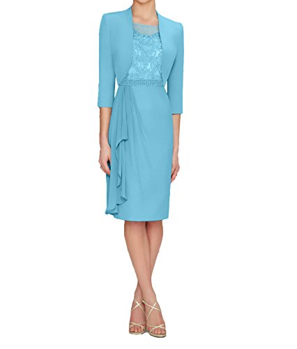 Partykleider Knielang Silber Damen Bolero mit Blau Abendkleider Chiffon Charmant Brautmutterkleider Langarm XnwqO6Uf