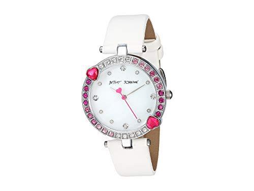Betsey Johnson Women's BJ00704-02 - Heart Stone Bezel & White Strap Watch Pink One Size Betsey Johnson Womens White Strap Watch