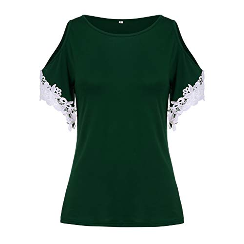 (NCCIYAZ Womens T-Shirt Cold Shoulder Plus Size Lace Short Sleeve Solid Blouse Ladies O-Neck Top)