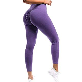 SEASUM Women Scrunch Butt Leggings High Waisted Ruched Yoga Pants Workout Butt Lifting XL