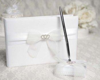 ラインストーンハーツ結婚式ゲストブックとペンセット B00NGNUJ40 Set Color: Ivory/ Gold Pen