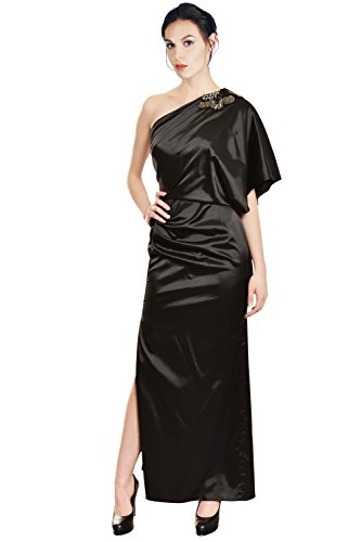 Aidan Mattox Luxe Satin One Shoulder Sequin Draped Eve Gown Dress
