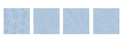 Fiskars Texture Plates, Expression-Rain Drops/Snowflakes and Party/Whimsy - Fiskars Embossing Plates
