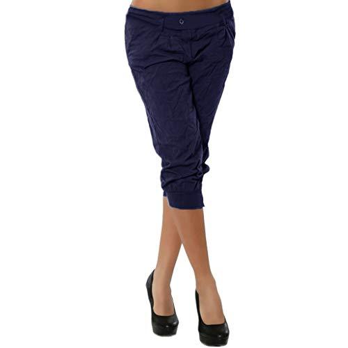 JOFOW Pants for Women Capri Casual Solid Slim Low Waist Straight Leg Knee Length Pencil Elegant Workwear Chic Midi Trousers (L,Navy -1) ()