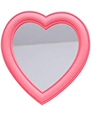 VOSAREA Bedroom Tabletop Mirror Love Heart Shaped Cosmetic Mirror Two Sided Makeup Mirror Desktop Ornament for Women Ladies Pink