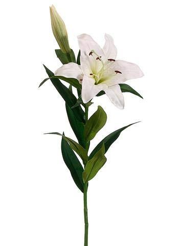 Floral Home Silk Stargazer Lily in White - 35