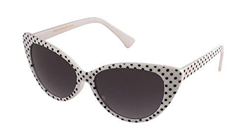 Black And White Vintage Cat Eyes Glasses (MJ Eyewear Black Cat Eye Women Sunglasses Vintage Fashion (POLKA DOT WHITE/BLACK, BLACK))