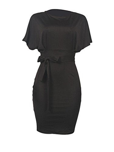 Women's Formal Pencil Dress Business Wear to Work Casual Short Sleeve Dress with Belt Black XXXL by SCORP (Image #2)