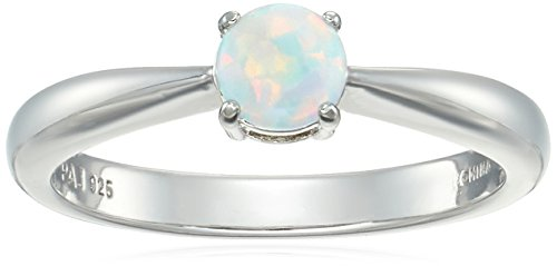 Sterling Silver Created Opal 5mm Birthstone Solitaire Ring, Size 7