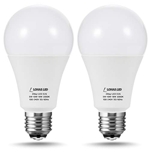 LOHAS 3-Way A21 Frosted LED Light Bulbs 50W-100W-150W Equivalent, 600-1250-1850LM Daylight 5000K Bright LED Bulb, E26 Medium Base 3 Way Dimmable LED Bulbs for Table Lamp, Pendent Lamp, 2 Pack