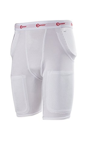 Cramer Classic 3-Pad/2-Pocket Football Girdle With Hip & Tailbone Pads, Football Pads, Football Equipment, Adult and Youth Football Gear, Football Protective Gear, Football Thigh Padding, White, Small
