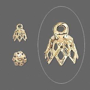 Collar chapado en oro de 8 mm con 7 puntas de cascabel con ...