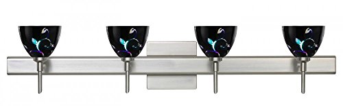 Besa Lighting 4SW-1858VB-SN-SQ 4X40W G9 Divi Wall Sconce with Canopy Black Dicro Vine Glass, Satin Nickel Finish (Vine Dicro Black Sn)