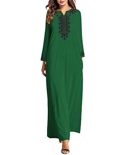 VONDA Maxi Dress Women's Casual Kaftans Dresses Casual Long Sleeve Retro Loose V Neck Gowns
