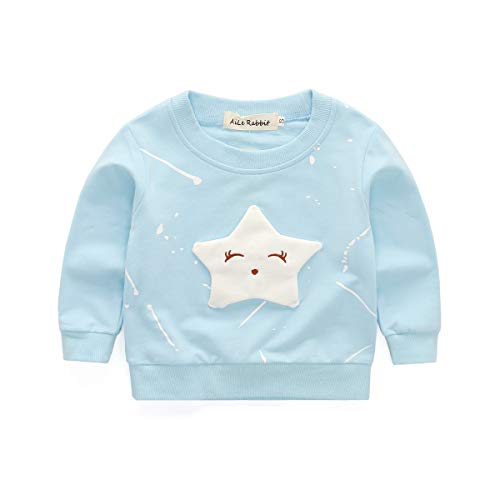 Cute Toddler Kids Baby Girls Smile Stars T-Shirt Long Sleeve Blouse Casual Sweatshirt Fall Clothes Set (Blue, 4 T)