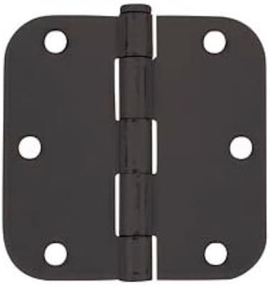 "Cosmas Flat Black Door Hinge 3.5"" Inch x 3.5"" Inch with 5/8"" Inch Radius Corners - 12 Pack"