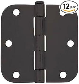 "Door Hinge 4/"" with 5//8/"" corner radius 4 inch Flat Black"