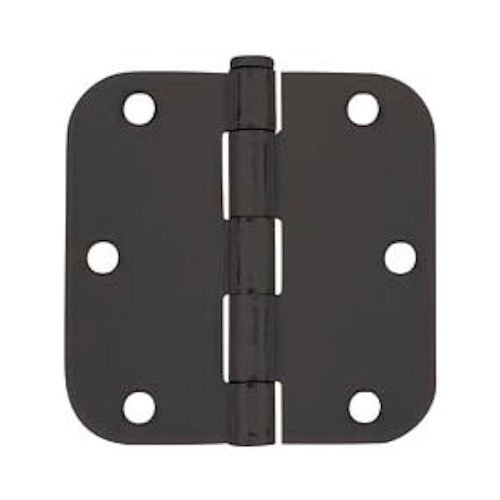 Cosmas Flat Black Door Hinge 3.5'' Inch x 3.5'' Inch with 5/8'' Inch Radius Corners - 12 Pack
