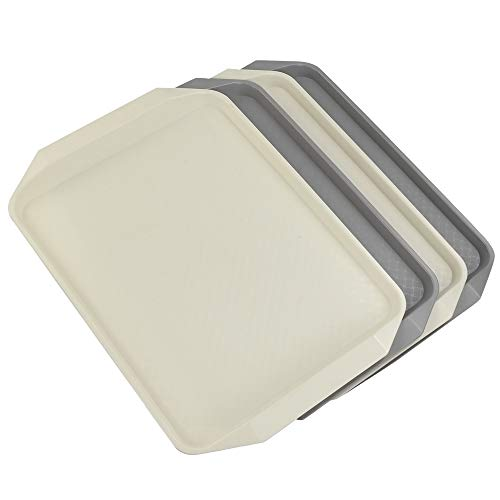 (Ramddy Plastic Fast Food Trays for Eating, 4 Packs(Grey and Beige))